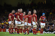 Wales players look up at a TV replay on the big screen.Rugby World Cup 2015 pool A match, Wales v Uruguay at the Millennium Stadium in Cardiff, South Wales  on Sunday 20th September 2015.<br /> pic by  Andrew Orchard, Andrew Orchard sports photography.