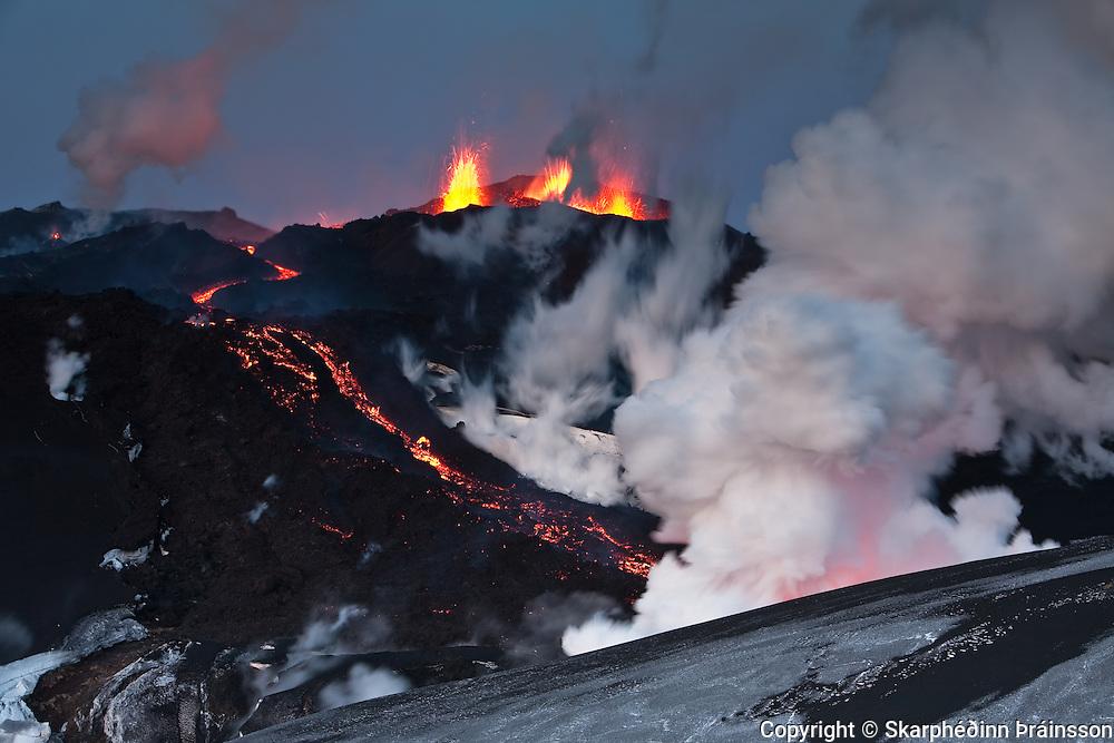 Erupting volcano in Fimmvörðuháls, south Iceland April 2010