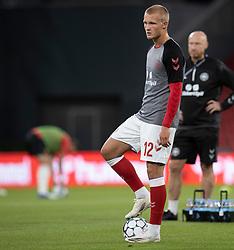 Kasper Dolberg (Danmark) under opvarmningen til UEFA Nations League kampen mellem Danmark og Belgien den 5. september 2020 i Parken, København (Foto: Claus Birch).