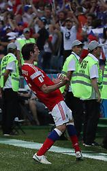 SOCHI, July 7, 2018  Mario Fernandes of Russia celebrates scoring during the 2018 FIFA World Cup quarter-final match between Russia and Croatia in Sochi, Russia, July 7, 2018. (Credit Image: © Yang Lei/Xinhua via ZUMA Wire)