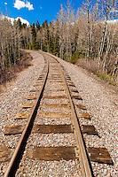Train tracks at the train station at Sublette, New Mexico. Cumbres & Toltec Scenic Railroad. The train does  a 64 mile run between Antonito, Colorado and Chama, New Mexico.