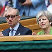 LONDON, ENGLAND - JULY 16: Prime Minister Theresa May and husband Philip at the Mens Singles Final between Roger Federer of Switzerland and Marin Cilic of Croatia during the Wimbledon Lawn Tennis Championships at the All England Lawn Tennis and Croquet Club at Wimbledon on July 16, 2017 in London, England. (Photo by Tim Clayton/Corbis via Getty Images)
