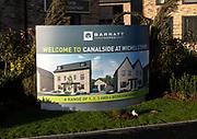 Sign new Barratt Homes housing development, Canalside, Wichelstowe, Swindon, England, UK