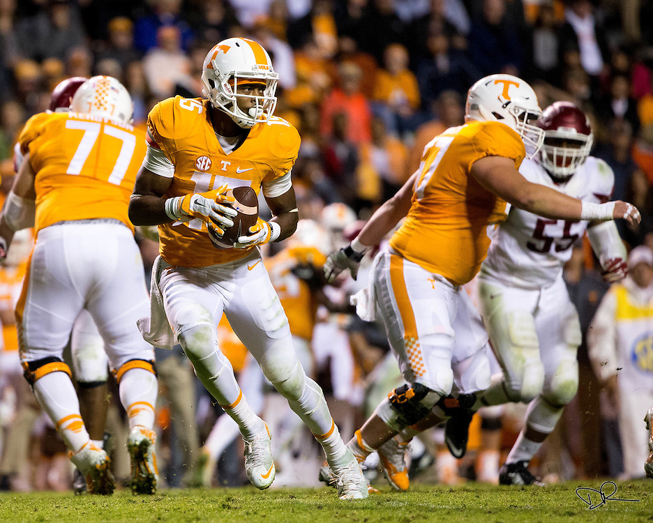 Wide receiver Jauan Jennings rolls out to pass as part of a sneak play during an SEC footbal game against  the Arkansas Razobacks at Neyland Stadium on October 13, 2015. Arkansas would go on to win the game 24-20.