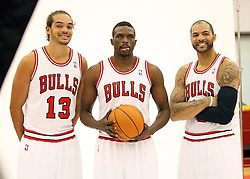 11.12.2011, The Berto Center, Deerfield, USA, NBA, Chicago Bulls Medien Tag, im Bild JOAKIM NOAH Z LEWEJ LUOL DENG W SRODKU I CARLOS BOOZER Z PRAWEJ CHICAGO BULLS // during Chicago Bulls Media Day at the Berto Center, Deerfield, United Staates on 2011/12/11, POLAND OUT!!!. EXPA Pictures © 2011, PhotoCredit: EXPA/ Newspix/ Kamil Krzaczynski..***** ATTENTION - for AUT, SLO, CRO, SRB, SUI and SWE only *****