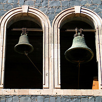 Americas, Mexico, Baja California Sur, Loreto. Bells of he Jesuit Mission of Our Lady of Loreto, the oldest and first of the California missions, established 1697.
