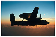 E-2C Hawkeye at sunset, aerial