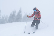 Diamond Peaks Ski Patrol member Teal Wyckoff skis in whiteout conditions near Montgomery Pass, Feb. 6, 2021.