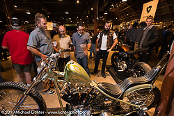 Jim Harper's (Jim's Choppers, Fort Worth) custom Harley-Davidson Shovelhead during the Friday night opening of the Handbuilt Motorcycle Show. Austin, TX. April 10, 2015.  Photography ©2015 Michael Lichter.