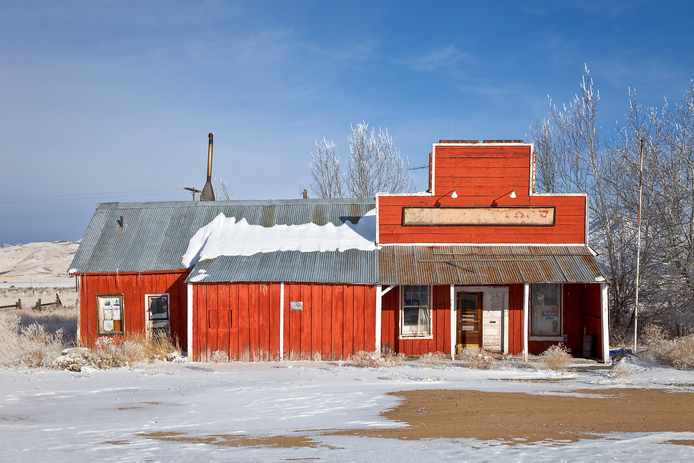 Open Edition<br /> Abandoned country store post office on the Camas Prairie in Idaho stand forlorn on a cold winters day