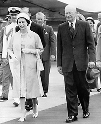 File photo dated 29/06/59 of Queen Elizabeth II and the then US President Dwight D. Eisenhower leaving the airstrip at St. Hubert, Quebec in Canada.