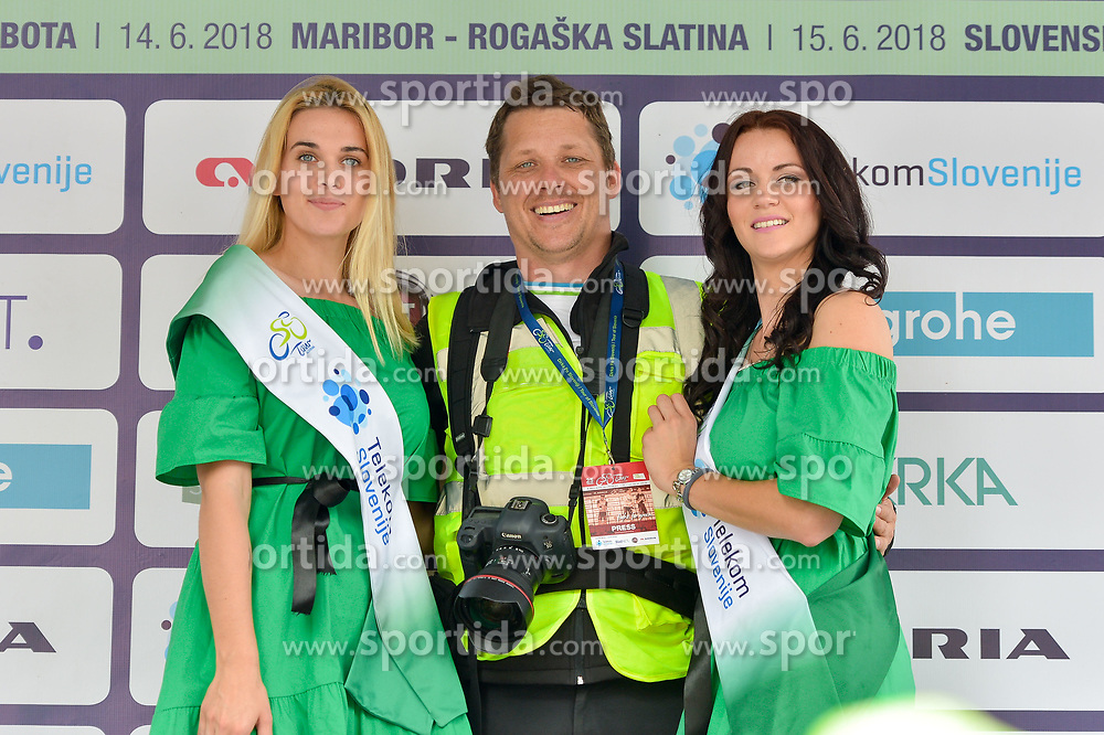 Vid Ponikvar photographer of Sportida with Hostesses Manja Dobrilovic and Tonja after 3rd Stage of 25th Tour de Slovenie 2018 cycling race between Slovenske Konjice and Celje (175,7 km), on June 15, 2018 in Slovenia. Photo by Mario Horvat / Sportida