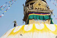 Nepal. Vallee de Katmandou. Stupa de Swayambunath. Le stupa est regulierement repeint lors de la pleine lune, avec des dessins en fleur de lotus, avec de la chaux et du safran. // Nepal. Kathmandu valley. Swayambunath stupa. The stupa is regularly paint with saffron water in order to purify it.