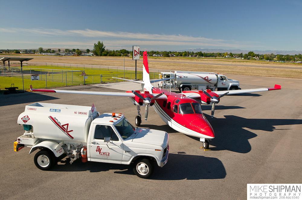 Aircraft and fuel truck, Avfuel, AVCenter, Nampa, Idaho, USA