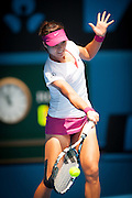 Li Na (CHN) faced B. Bencic (SUI) in day three play at the 2014 Australian Open. Li Na defeated Bencic 6-0, 7-6 at Melbourne's Rod Laver Arena.