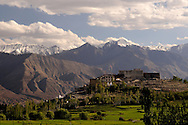 Phyang gompa beautifully surrounded by himalayan peaks.