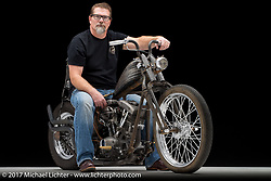 A raw shovelhead built by Josh Allison of Cry Baby Cycles in Fort Collins, CO and owned by Steve Holwell. Photographed by Michael Lichter in Boulder, CO on November 9, 2017. ©2017 Michael Lichter.