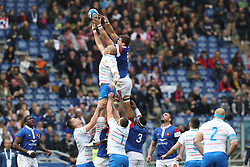 March 16, 2019 - Rome, RM, Italy - Sergio Parisse of Italy and Paul Willemse of France catching the ball during the Six Nations International Rugby Union match between Italy and France at Stadio Olimpico on March 16, 2019 in Rome, Italy. (Credit Image: © Danilo Di Giovanni/NurPhoto via ZUMA Press)
