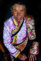 Tibetan woman at the teahouse, Ganden Monastery, Dagze, Tibet (Xizang), China.