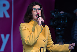 London, UK. 19 October, 2019. Layla Moran, Liberal Democrat MP for Oxford West and Abingdon, addresses hundreds of thousands of pro-EU citizens at a Together for the Final Say People's Vote rally in Parliament Square as MPs meet in a 'super Saturday' Commons session, the first such sitting since the Falklands conflict, to vote, subject to the Sir Oliver Letwin amendment, on the Brexit deal negotiated by Prime Minister Boris Johnson with the European Union.