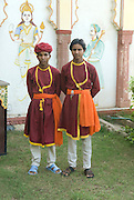 India, Rajasthan, chittorgarh the fort two guards in traditional clothes