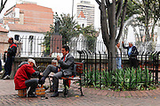 Bogota, Colombia, Shoeshine in the park