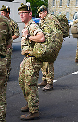 Pictured: Troops glad to be home.<br /> <br /> 2 SCOTS arriving home from Iraq deployment. OP Shader troops from The Royal Highland Fusiliers, 2nd Battalion The Royal Regiment of Scotland have been training local forces since December 2017. The troops have been training the local Iraqi forces for the last six months<br /> <br /> <br /> Ger Harley | EEm 19 June 2018