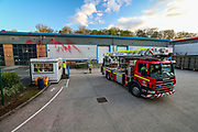 Leicester, United Kingdom, May 19, 2021: A fire rescue truck arrives at the Elbit UAV Tactical Systems factory to support security personnel in removing protestors from Palestine Action who occupied the rooftop of the Meridian Business Park in Braunstone Town, Leicester on Wednesday, May 19, 2021. (Photo by Vudi Xhymshiti/VXP)
