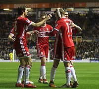 Middlesbrough's Patrick Bamford  celebrates scoring his sides first goal <br /> <br /> Photographer Mick Walker /CameraSport<br /> <br /> The EFL Sky Bet Championship - Birmingham City v Middlesbrough - Tuesday 6th March 2018 - St Andrew's - Birmingham<br /> <br /> World Copyright © 2018 CameraSport. All rights reserved. 43 Linden Ave. Countesthorpe. Leicester. England. LE8 5PG - Tel: +44 (0) 116 277 4147 - admin@camerasport.com - www.camerasport.com