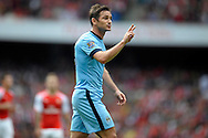 Manchester City's Frank Lampard makes his point. Barclays Premier league match, Arsenal v Manchester city at the Emirates Stadium in London on Saturday 13th Sept 2014.<br /> pic by John Patrick Fletcher, Andrew Orchard sports photography.