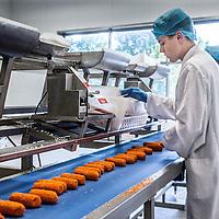 Nederland, Amsterdam, 14 juli 2016.<br /> Een kijkje In de keuken van het familiebdrijf FEBO.<br /> Febo is een snackbarketen in Nederland. De oprichter begon ooit als brood- en banketbakker.<br /> In 1942 werd Maison Febo (oorspronkelijk Bakkerij Febo) opgericht door Johan de Borst (1919-2008). Wat begon als een bakkerswinkel groeide uit tot een automatiek, waar De Borst zelfgemaakte kroketten verkocht.<br /> De naam 'Febo' is afgeleid van de Amsterdamse Ferdinand Bolstraat in de Pijp.<br /> Dagelijks worden de kroketten en burgers nog altijd volgens het authentieke recept van Opa de Borst dagvers bereid. Continu zorgt FEBO ervoor dat de producten nog steeds dezelfde kwaliteit hebben als vroeger.<br /> Dagelijks start FEBO s'ochtends heel vroeg met het maken van een ambachtelijke bouillon gemaakt van verse groenten om vervolgens een ragout te maken van het beste kwaliteitsvlees van 100% Nederlandse runderen uit de buurt. Iedere dag wordt van deze ragout de beroemde FEBO kroket gemaakt. De kroketten zijn dagvers en worden nooit ingevroren.<br /> <br /> Netherlands, Amsterdam, July 14, 2016.<br /> A peek in the kitchen of the family company FEBO.<br /> Febo is a snack bar chain in the Netherlands. The founder started as a baker and confectioner.<br /> In 1942, Maison Febo (originally Bakery Febo) was founded by Johan de Borst (1919-2008). What began as a bakery grew into an automatic, where Johan Borst sold homemade croquettes. <br /> The name 'Febo' derives from the Amsterdam Ferdinand Bolstraat in the Pijp.<br /> The croquettes and meat burgers  are still produced with the authentic recipe of Grandfather Borst and prepared fresh every day. FEBO continuously ensures that the products still have the same quality as before.<br /> FEBO starts very early in the morning with making a bouillon made from fresh vegetables and then make a ragout with the best quality meat of 100% Dutch cattle from the area.  From this ragout the famous FEBO croquette is made fresh every day.