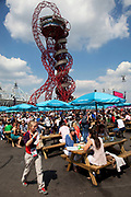 London, UK. Thursday 9th August 2012. London 2012 Olympic Games Park in Stratford. Food / eating area where people have picnic benches to rest and eat on.