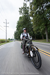 Buck Carson of TX on his 1916 BSA during the Motorcycle Cannonball Race of the Century. Stage-1 from Atlantic City, NJ to York, PA. USA. Saturday September 10, 2016. Photography ©2016 Michael Lichter.