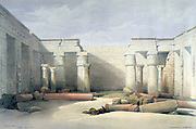 Medinet Abu - Thebes, Dec. 5th 1832'.; lithograph after watercolour by David Roberts (1796-1864) Scottish artist. Ancient Egypt Archaeology
