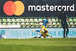 Bradley Leonard Martis of NK Celje vs Žan Trontelj of NK Bravo during football match between NK Bravo and NK Celje in 32nd Round of Prva liga Telekom Slovenije 2020/21, on May 4, 2021 in Sports park Domzale, Slovenia. Photo By Grega Valancic / Sportida