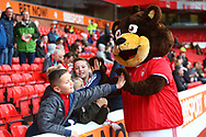 Fans have fun with the Nottinghamm Forest mascot during the EFL Sky Bet Championship match between Nottingham Forest and Burton Albion at the City Ground, Nottingham, England on 21 October 2017. Photo by John Potts.