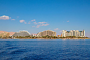 Israel, Eilat Beach, Hotels in the background as seen from the Red Sea