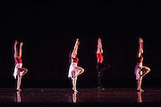 Santa Clara University Department of Theatre & Dance students perform during the dress rehearsal of the Choreographers' Gallery at Santa Clara University's Louis B. Mayer Theatre in Santa Clara, California, on December 3, 2013. (Stan Olszewski/SOSKIphoto)