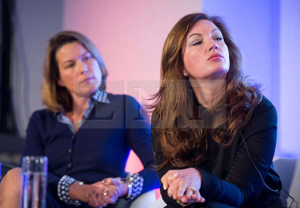 © Licensed to London News Pictures. 12/10/2015. London, UK. Economist STEPHANIE FLANDERS (left) and  BARONESS KARREN BRADY (right) speaking at the event. The launch of the Britain Stronger in Europe campaign at the Truman Building in London. The campaign is being by led by Former M&S chairman, Lord Stuart Rose. Photo credit: Ben Cawthra/LNP