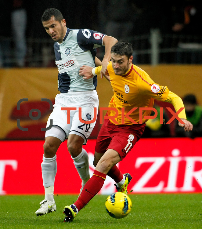 Galatasaray's Albert Riera Ortega (R) and AdanaDemirspor's Burhan Coskun (L) during their Turkey Cup matchday 3 soccer match Galatasaray between AdanaDemirspor at the Turk Telekom Arena at Aslantepe in Istanbul Turkey on Tuesday 10 January 2012. Photo by TURKPIX