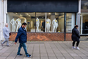 Headless full body mannequins for sale in the window of the Folkestone Debenhams store during the final few days of the 'Everything Must Go' sale before closing down in Folkestone, Kent. United Kingdom. The company announced the closure of 19 stores across the UK after going into administration in 2019.  (photo by Andrew Aitchison / In pictures via Getty Images)