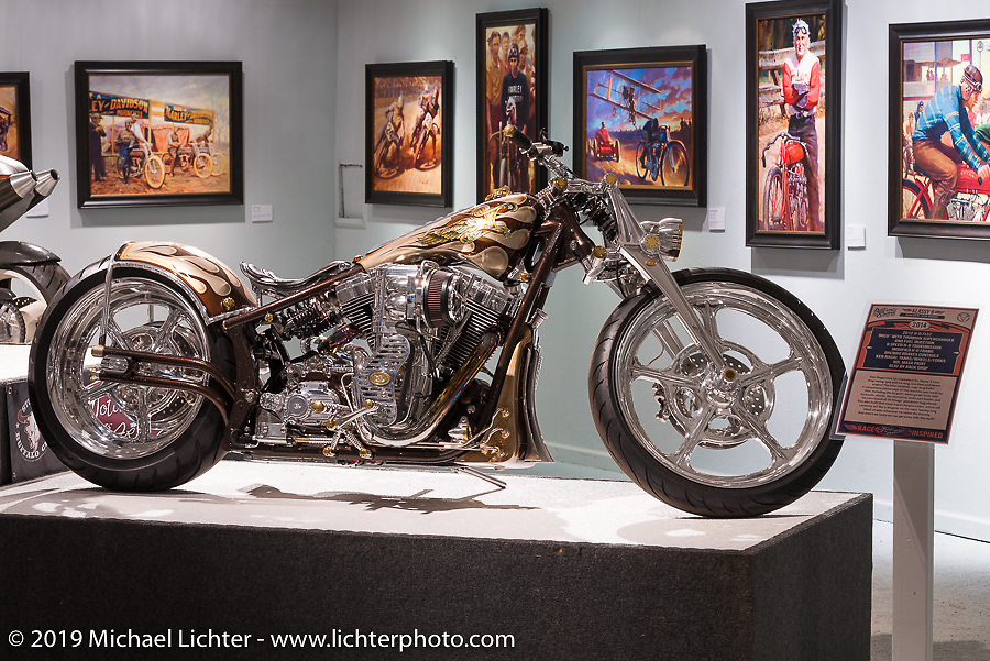 """Ken Nagai's (Ken's Factory Tokyo) supercharged Harley-Davidson in the """"Built for Speed"""" exhibition curated by Michael Lichter and Paul D'Orleans in the Russ Brown Events Center as part of the annual """"Motorcycles as Art"""" series at the Sturgis Buffalo Chip during the Black Hills Motorcycle Rally. SD, USA. August 7, 2014.  Photography ©2014 Michael Lichter."""
