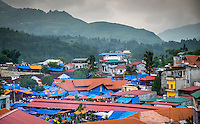 BAC HA, VIETNAM - CIRCA SEPTEMBER 2014:  Rooftops at Bac Ha sunday market, the biggest minority people market in Northern Vietnam