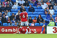 Cardiff City forward Kieffer More (10) shoots towards goal during the EFL Sky Bet Championship match between Cardiff City and Bristol City at the Cardiff City Stadium, Cardiff, Wales on 28 August 2021.