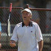 Peter Adrigan, Germany, in action in the 65 Mens Singles during the 2009 ITF Super-Seniors World Team and Individual Championships at Perth, Western Australia, between 2-15th November, 2009.