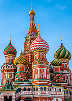 Domes in St. Basil's Cathedral in Moscow.