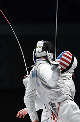 WUXI, July 27, 2018  Daniele Garozzo (front) of Italy fights with Race Imboden of the US at the men's foil team final between Italy and the United States at the Fencing World Championships in Wuxi, east China's Jiangsu Province, July 27, 2018. Italy beat US 45-34 and claimed the title of the event. (Credit Image: © Li Bo/Xinhua via ZUMA Wire)