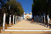 Steps leading up to a church, sreet scene, San Cristobal de las Casas, Chiapas, Mexico.