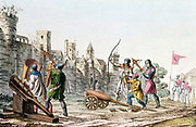 Hundred Years War between France and England. English troops attacking the walls of a French town with early cannon and both longbows and crossbows (1375-1425) Hand-coloured lithograph c1830.