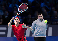 Tennis - 2017 Nitto ATP Finals at The O2 - Day Six<br /> <br /> Group Pete Sampras Singles: Dominic Thiem (Austria) Vs David Goffin (Belguim)<br /> <br /> Dominic Thiem (Austria) stretches to reach the and return the ball at the O2 Arena <br /> <br /> <br /> COLORSPORT/DANIEL BEARHAM